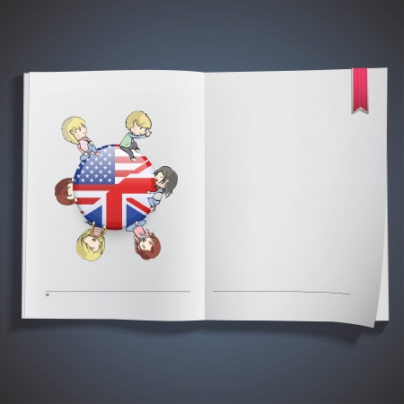 Kids holding English icon printed on white book.  Vector