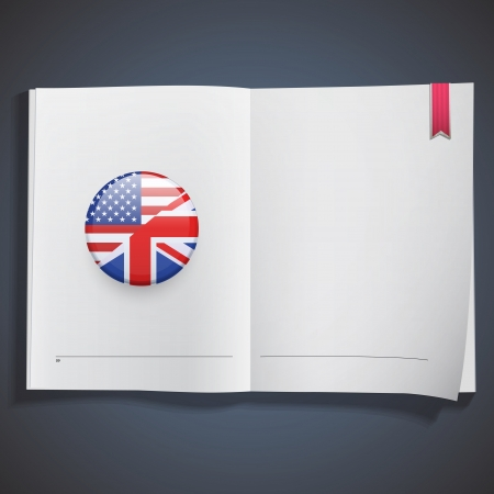 American-English icon printed on white book.  Vector