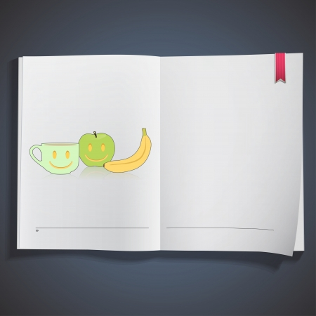 banana sheet: Fruits and coffee cup printed on white book, Vector design Illustration