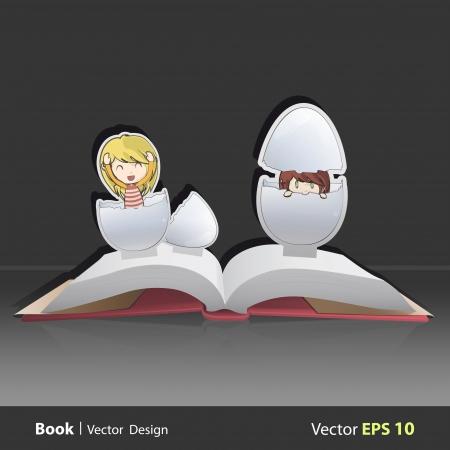 uovo rotto: Ragazza lasciando uovo rotto sul libro pop-up. Illustrazione vettoriale. Vettoriali