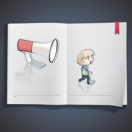 Kids and megaphone printed on white book, Vector design Stock Vector - 20484629