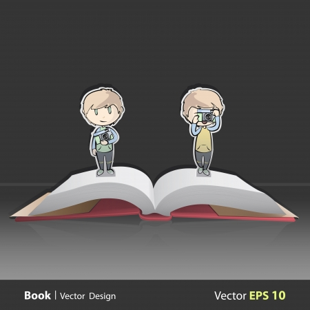 friends with camera on pop-up book. Vector illustration. Vector