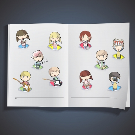 Music group inside hole paper printed on white book, Vector design Vector