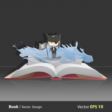 Pirate with parrot on pop-up book. Vector illustration. Vector