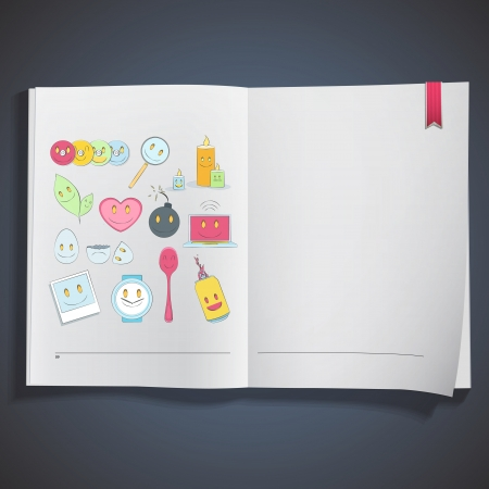 Collection of icons printed on white book  Stock Vector - 20484626