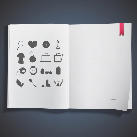 Collection of icons printed on white book  Stock Vector - 20484624