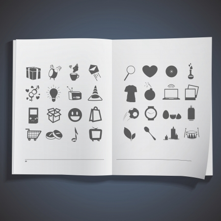 Collection of icons printed on white book Stock Vector - 20484623