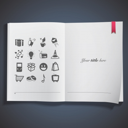 Collection of icons printed on white book Stock Vector - 20484625