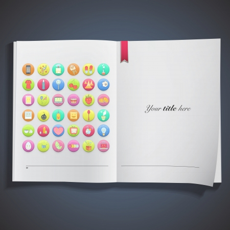 Collection of colorful badges printed on white book Stock Vector - 20484620