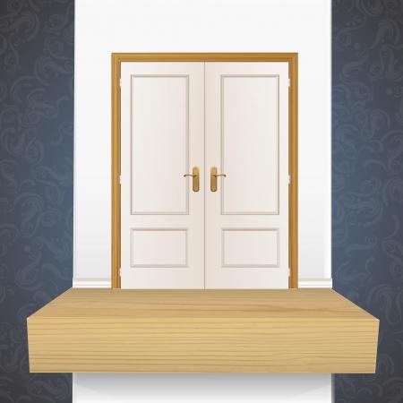 White door on shelf. Vector design.  Vector