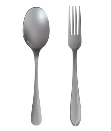 Realistic fork and spoon on white background. Stock Vector - 20596923