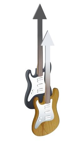 Realistic bass and guitar on white background. Stock Vector - 20580659