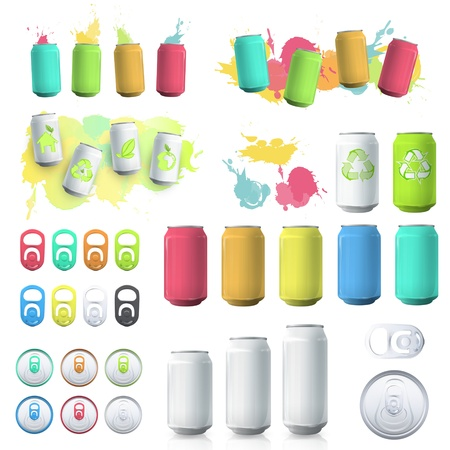Set of cans and elements.  Stock Vector - 20596946