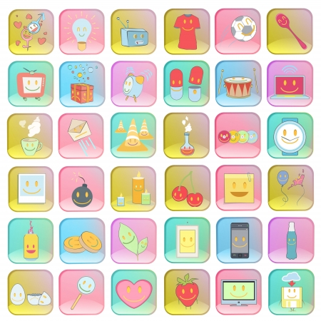 Collection of colorful badges with icons inside   Stock Vector - 20596945