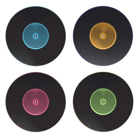 grooves: Set of vinyl isolated on white