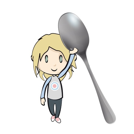 baby cutlery: Kid holding a spoon on white background. Vector design.  Illustration