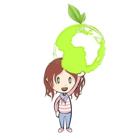 Girl holding an ecological icon  Vector design  Stock Vector - 21024977