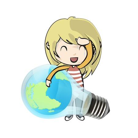 Cute girl holding Eco light bulb with world inside  Vector design  Stock Vector - 21024978