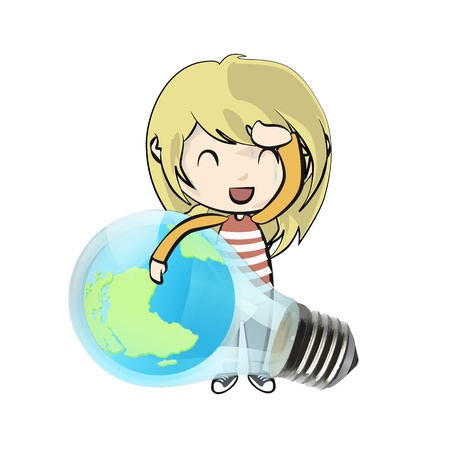 save the planet: Cute girl holding Eco light bulb with world inside  Vector design