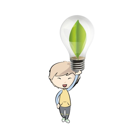 Kid holding bulb with a green sheet inside  vector design  Stock Vector - 21024979