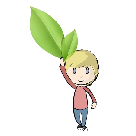 Boy holding leaves  Vector design  Vector