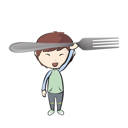 baby cutlery: Kid holding a fork  Vector design