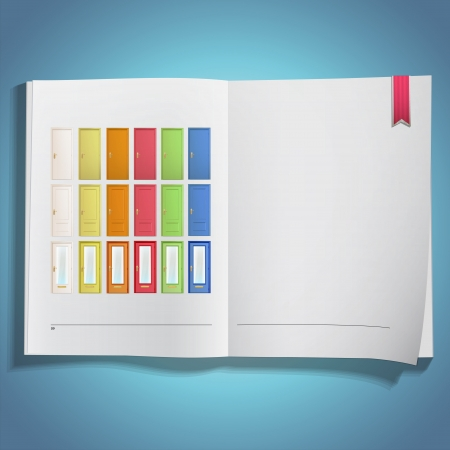 Big collection of colorful doors printed on book  Vector design  Vector