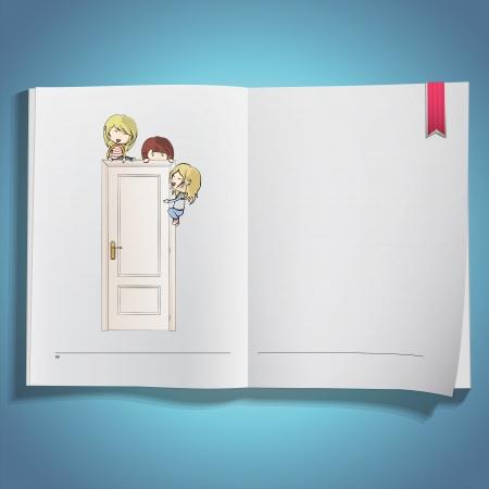 Kids around white door printed on book  Vector design Stock Vector - 21025014