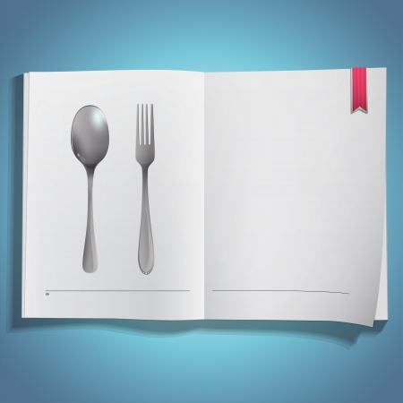 Realistic fork and spoon printed on book  Vector design  Stock Vector - 21025015
