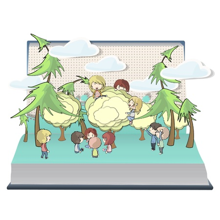Kids holding tree on book. Vector design. Stock Vector - 21025008