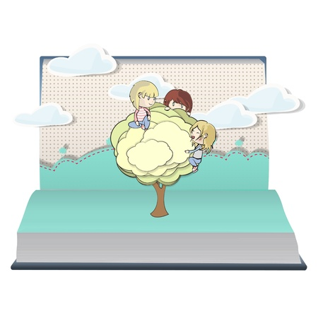 Kids holding tree on book. Vector design. Stock Vector - 21025009
