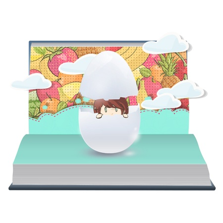 Girl inside a broken egg on book. Vector design. Stock Vector - 21025010