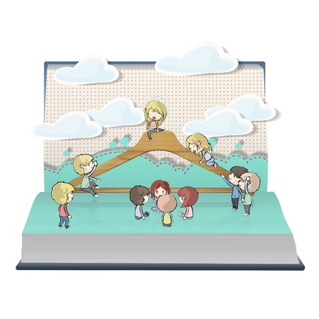 Kids around hanger on book  Vector design  Stock Vector - 21025013