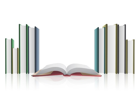 Several books isolated on white background Stock Vector - 21025034