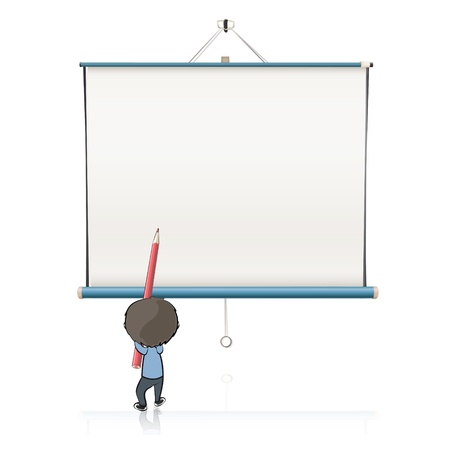 Kid writing in empty white projector screen Vector