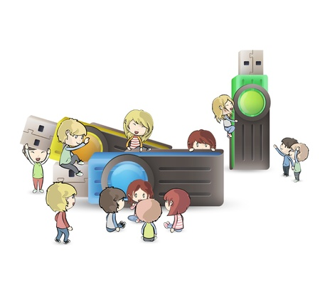 microdrive: Kids playing around several pendrives  vector design