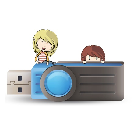 microdrive: Kids holding blue pendrive  vector design