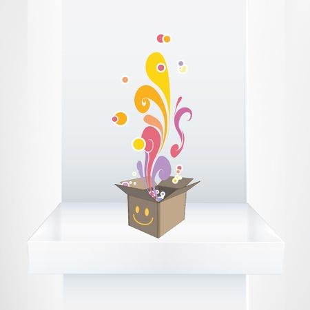 Cute box on shelf. Vector design Stock Vector - 21025068