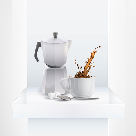 Coffee pot on shelf. Vector design Vector
