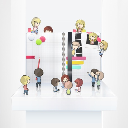 Kids around open white notebook on shelf. Vector design Vector
