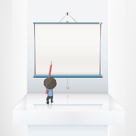 Kid wrtting on empty white projector screen Vector