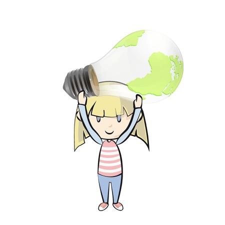 Kid holding eco light bulb with world inside.  background illustration. Stock Vector - 21160452