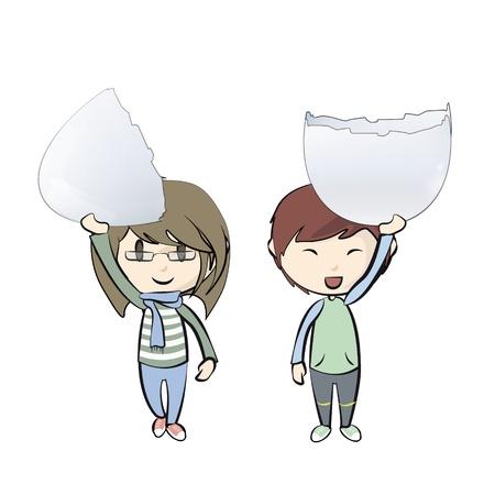 uovo rotto: I bambini in possesso di un uovo rotto. Vettoriali