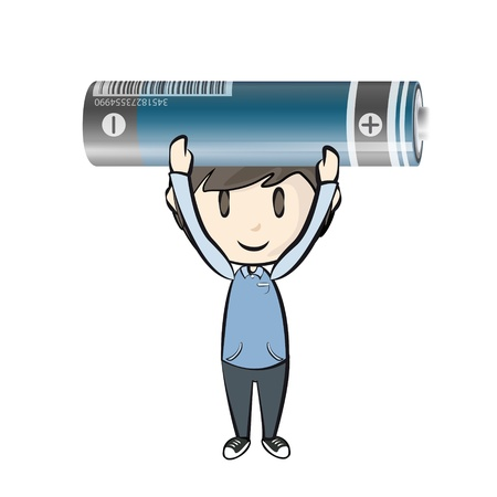 Kid holding a realistic battery. Stock Vector - 21160490