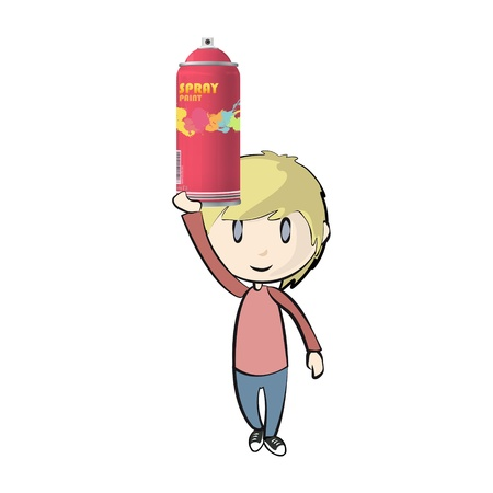 Kid holding a spray color. Stock Vector - 21160494