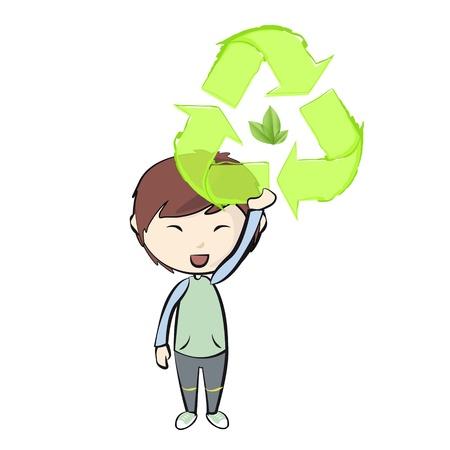 Girl holding an ecological icon. Stock Vector - 21160566