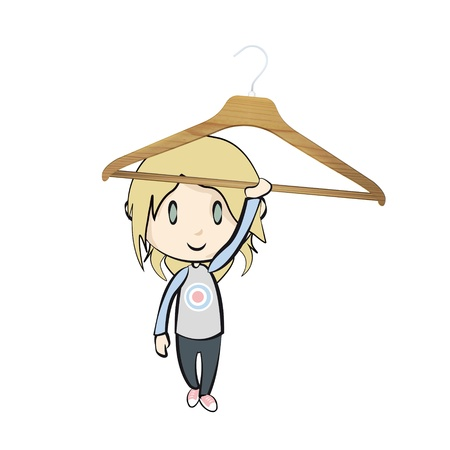 Girl holding a hanger on white background.  Vector