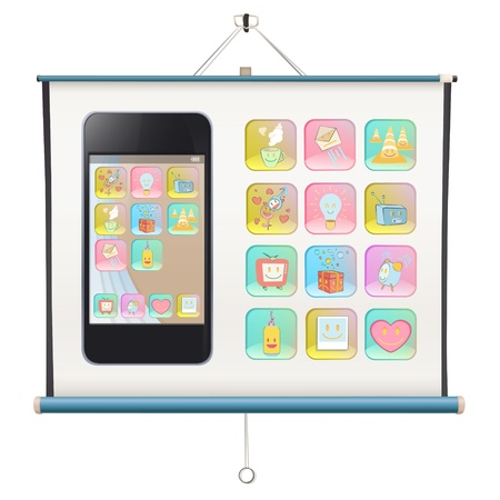 Gift phone with several icons on project screen. Stock Vector - 21160624