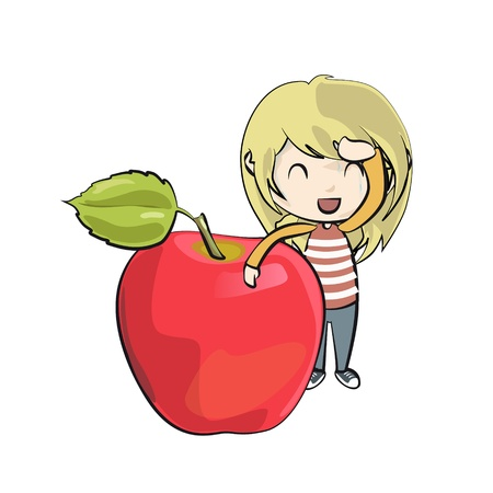Girl holding apple  Vector