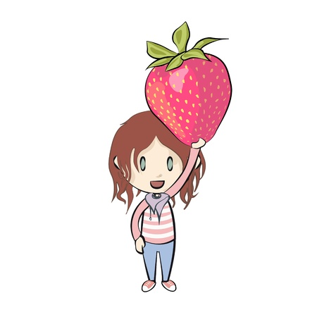Kid holding strawberry  Vector